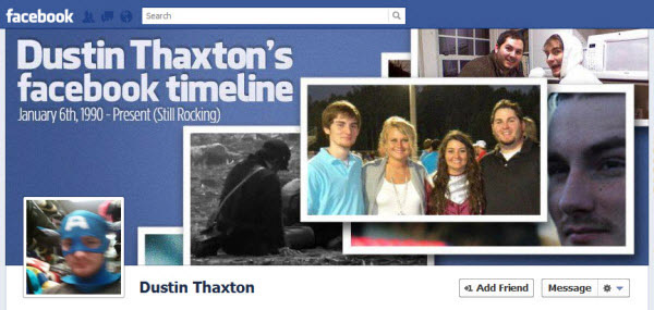 dustin thaxton Facebook Timeline Cover: 40 (Really) Creative Examples